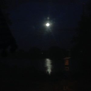 Blick nachts aus dem Alkoven