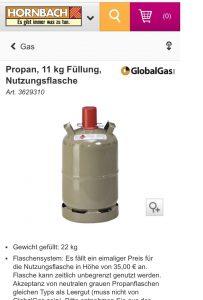 Hier ein Werbebild aus dem Hornbach.de Sortiment, samt der 22kg Angabe