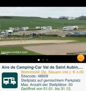 Dieser große Stellplatz mit teilweise Strom in Val de Saint Aubin kostet nur 4 Euro