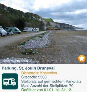 Kostenloser Stellplatz bei St. Jouin Bruneval DIREKT am Atlantik unterhalb der Klippen