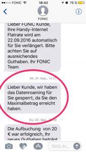 SMS von Fonic !