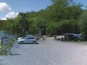 Simrishamn, frei stehen mit dem Wohnmobil am Badesee