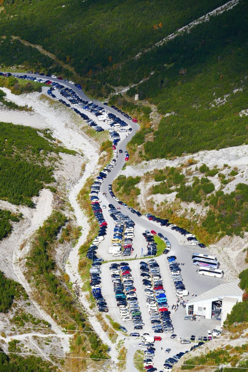 Volle Parkplätze durch Wohnmobile, Camping 2017/2018