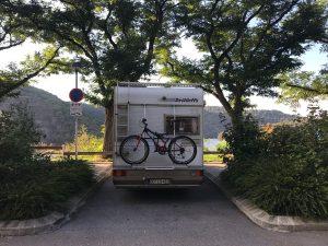 kostenloser Stellplatz auf dem Weg nach Südfrankreich