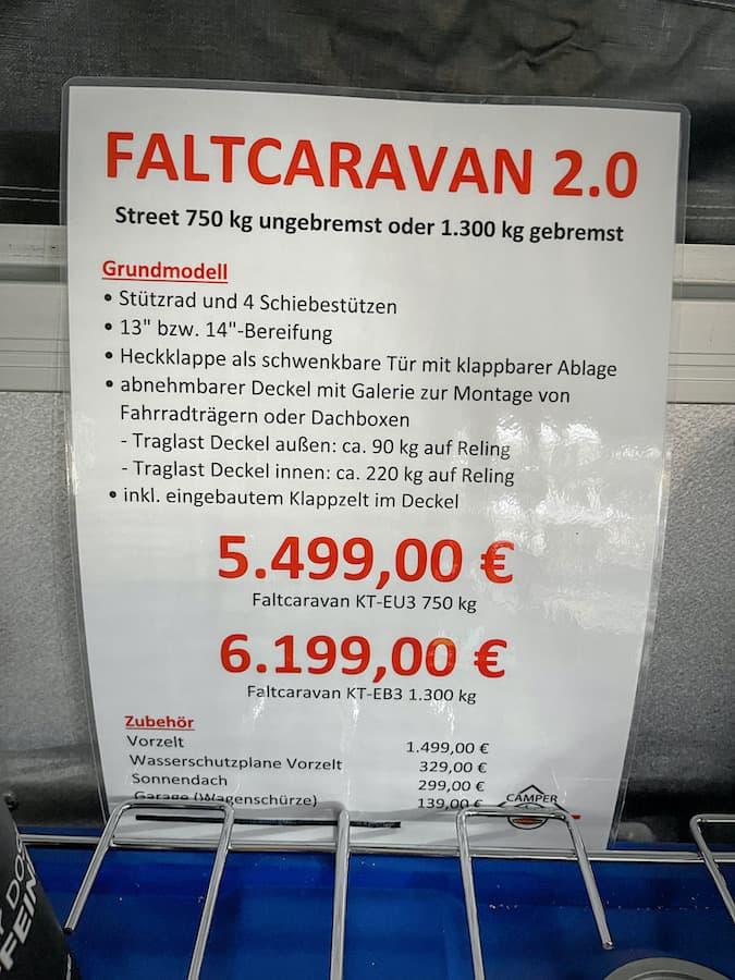 Kosten Faltcaravan